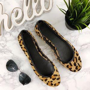 BANANA REPUBLIC Leopard print Calf hair Flat  9.5